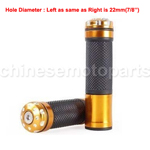 Golden Rubber &Chrome Handlebar Hand Grips Bar for ATV