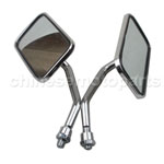 Gloss Chrome 8mm Square L For Modpad Scooter Street Bike Motorcycle Mirrors