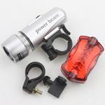 Waterproof 5-LED Lamp Bike Bicycle Front Head Light+Rear Safety Flashlight White