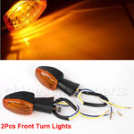 2 Pcs Black Front Plastic Motorcycle Yellow Turn Light Signal Lamps for Honda CBR600