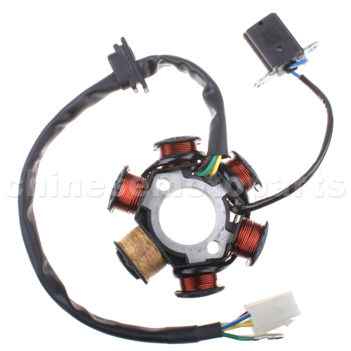 6-Coil Full-Wave Magneto Stator for 50cc-125cc Electrical Start ATV, Dirt Bike & Go Kart.