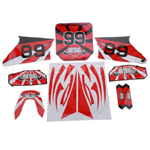 Decals for 50-125 Dirtbike-Red No.99